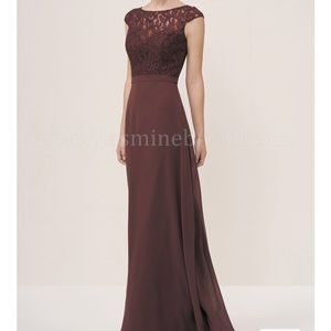 P196055 Long Boat Neckline Lace Bridesmaid Dress